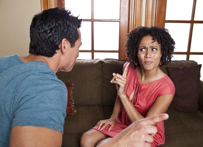 interracial couple argue