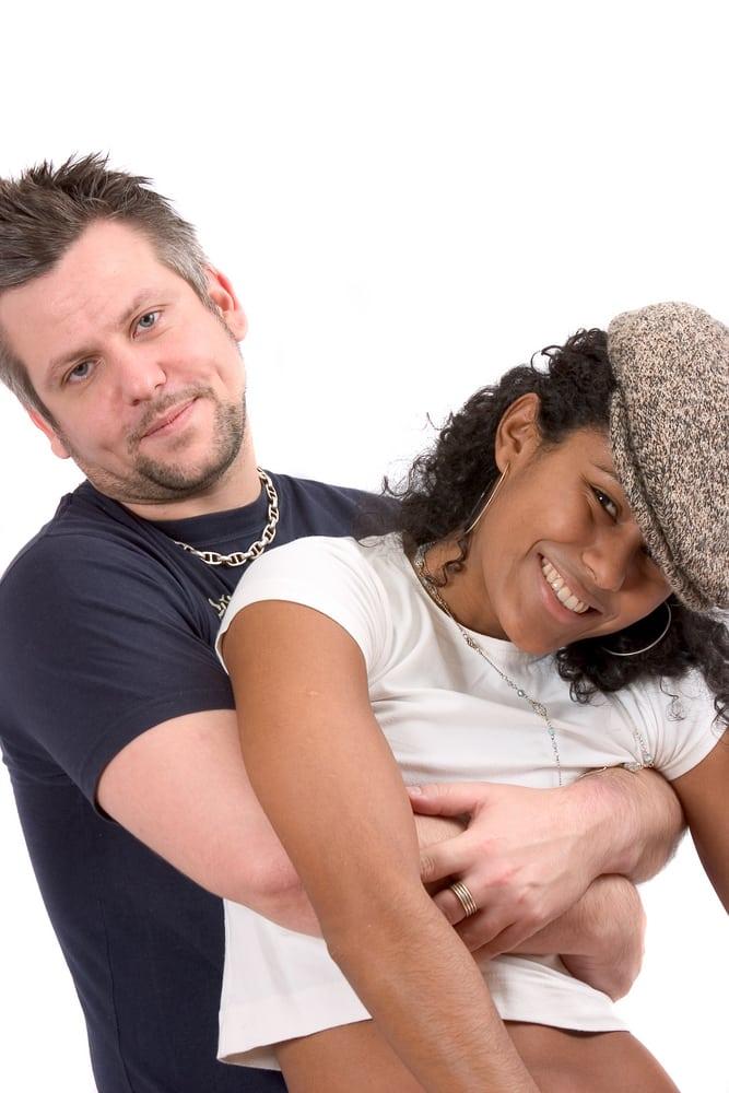 playful interracial couple