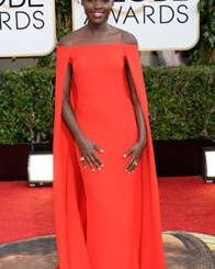 Golden Globe, red dress, Hollywood, actress, fashion, style, hair, short hair, red carpet, award, television, 12 Years a Slave, african, black, beautiful, couture, cape, shoulders, cropped cut, fade, dark skin, media, stylists, fashionista, Lupita Nyong'o's