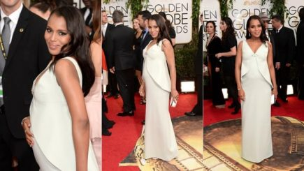 Kerry Washington, baby bump, pregnancy, marriage, Scandal, Golden Globe, awards, red carpet, dress, Hollywood, actress, African American, style, icon, fashion, maternity, dressing, event,