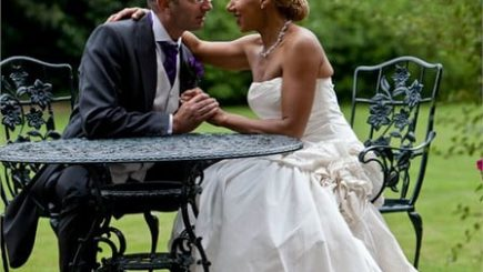 wedding, inspiration, mixed marriage, couples, interracial, swirling, fashion, style, wedding dress, lavender,