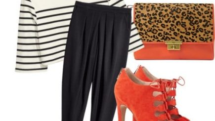 H &M, black women style, suggestions, fashion, style, inspiration, outdoors, oranges, pants, prints, budget, collection, selection, leopard,
