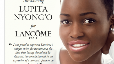 lupita, lancome, makeup, black skin, black woman, beautiful, cover girl, contract, European beauty standards, model, trend, style, fashion, products, money, consumer,