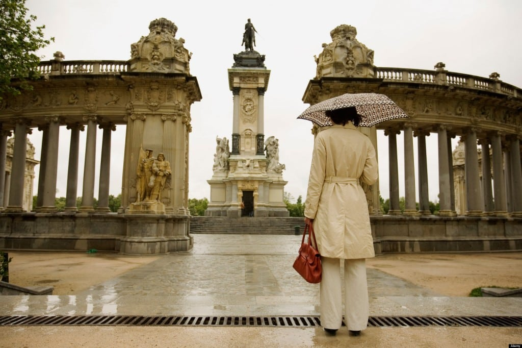Woman Looking at Statue in Park, Madrid, Spain