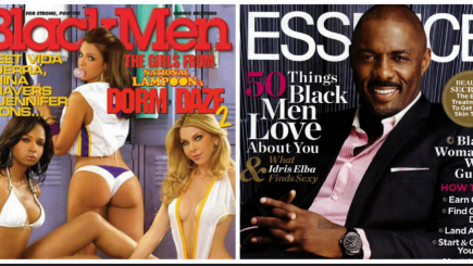 Essence, Black magazine, media, culture, class, race, stereotypes, Black Kang, dating options, self esteem, economics, messages, communication, marriage, value, bias, diversity in dating, misogynistic, racist, Idris Elba, skin magazine, Black interest magazines, sales, light skinned black women, Messence, Black Men Magazine,