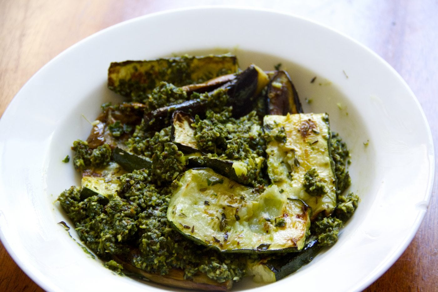 Roasted Vegetables with Kale-Basil Pesto