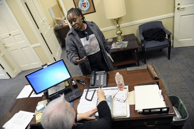 ANNAPOLIS, MD - FEBRUARY 1: Vontasha Simms talks with Melinda Hamilton, aid to Maryland Del. Edith J. Patterson February 01, 2016 in Annapolis, MD.  Simms, grandmother of Ji'Aire Lee, 3, who died while his mother, Romechia Simms, pushed him on a swing for 40 hours, visits legislators at the Maryland General Assembly to try and pass mental health reform. (Photo by Katherine Frey/The Washington Post)