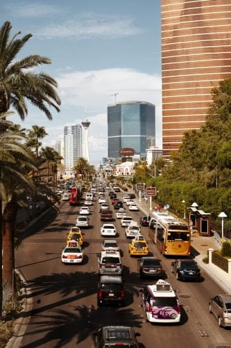 Las Vegas, United States - September 2, 2013: Street strip in Las Vegas with cars on September 2, 2013 year.