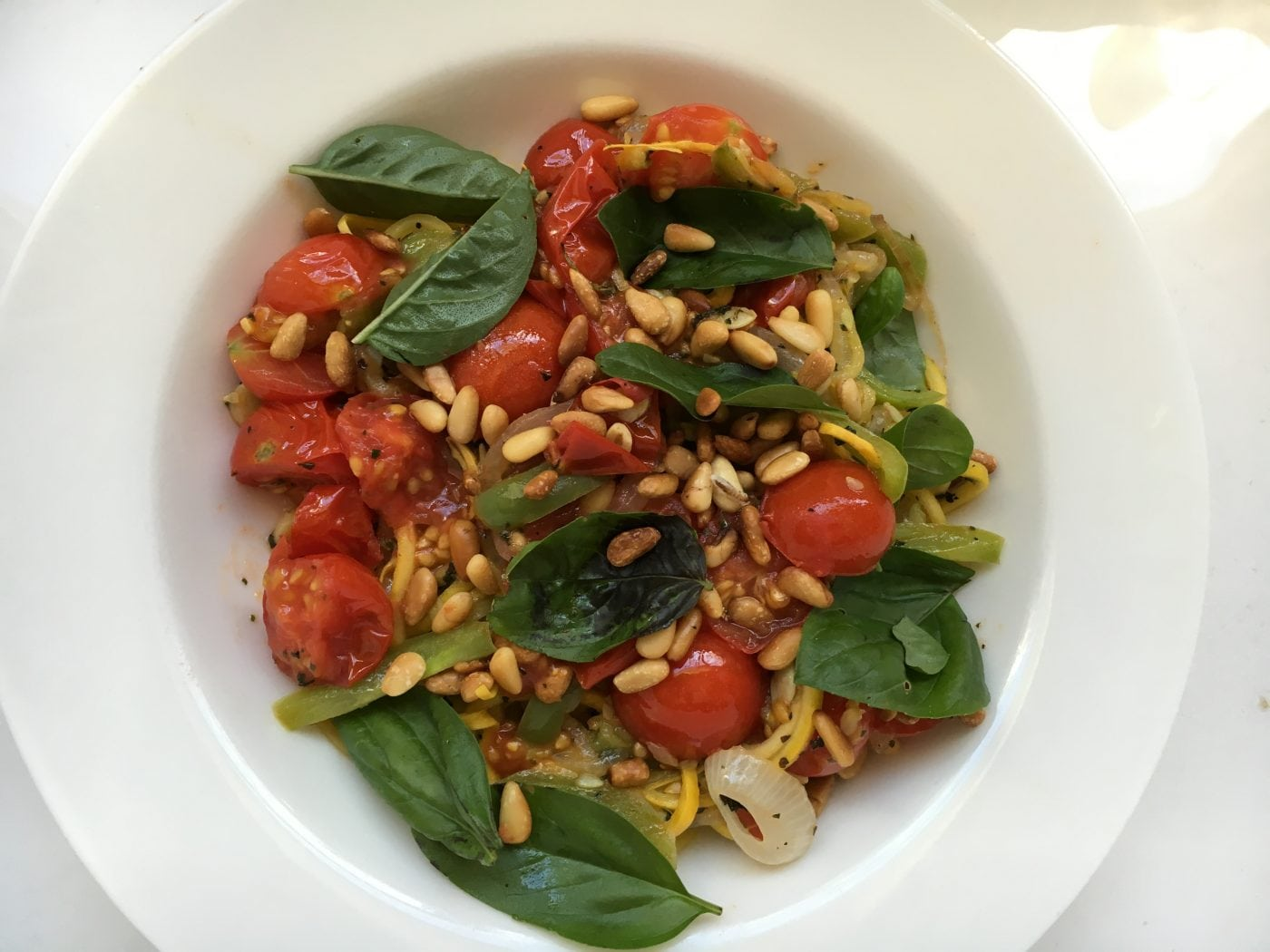 Food to Get 'That Glow' Spriralized Zucchini with Veggies and Pine Nuts